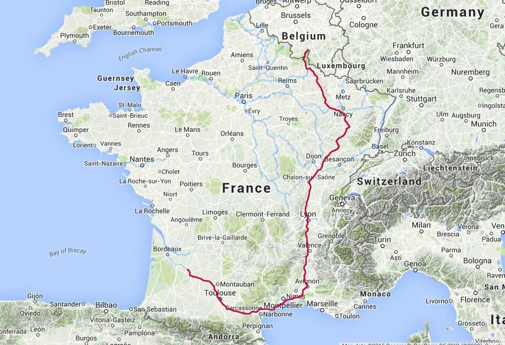 Ettie's route through France